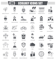 Ecology black icon set Dark grey classic vector image