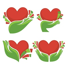 hearts and hands vector image