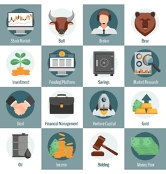 Investment and trading icons vector
