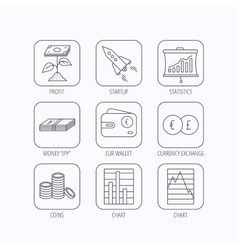 Profit investment cash money and startup icons vector