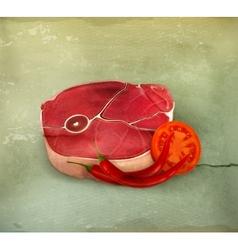 Beef steak with vegetables vector