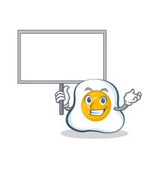 Bring board fried egg character cartoon vector