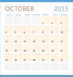 Calendar 2015 flat design template october week vector