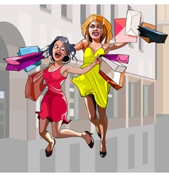 Cartoon woman with shopping happily jumping vector