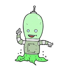 Comic cartoon alien spaceman vector