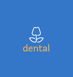 dentist logo design tooth linear logotype vector image vector image