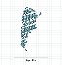 Doodle sketch of Argentina map vector image