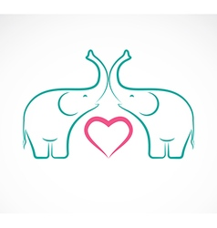 Elephant and heart vector image vector image