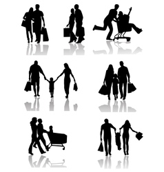 Family shopping silhouettes with shadow vector