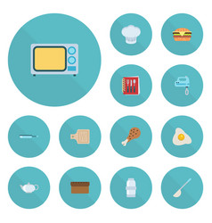 Flat icons fried poultry fast food soup spoon vector