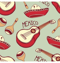 Hand drawn mexican seamless pattern with sombrero vector image