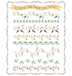Hand drawn pastel flower and floral brush vector