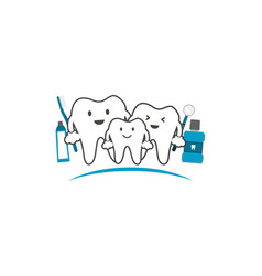 healthy teeth family smile and happy dental care vector image vector image