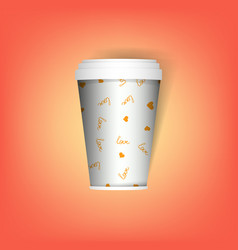 Insulated disposable coffee mug realistic paper vector