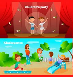 kindergarten characters compositions vector image vector image