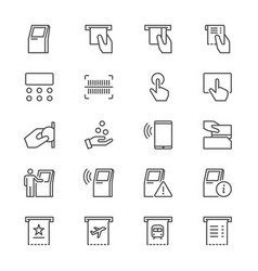 Kiosk thin icons vector