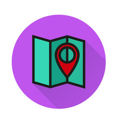 pin on the map icon on white background vector image vector image