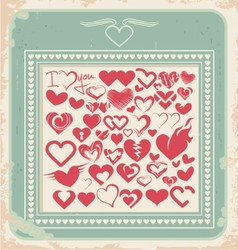 Retro poster with heart icons for Valentines day vector image vector image