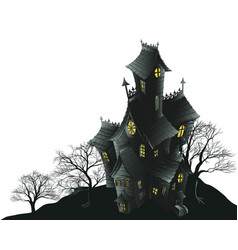 scary haunted house and trees vector image vector image