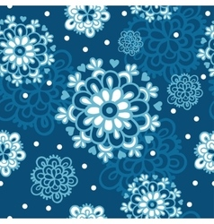 Seamless pattern with flowers snowflakes vector image vector image