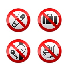 set prohibited signs - airport vector image