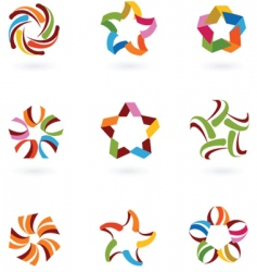 star icons and logos vector image