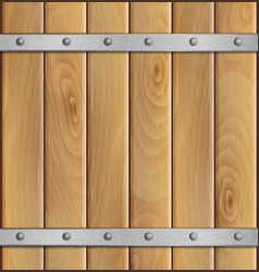 Wooden background with metal crossbar vector