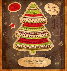 Vintage xmas tree card vector