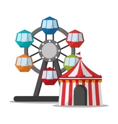 Ferris wheel and tent of carnival design vector