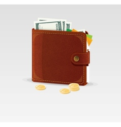 Wallet and coins isolated vector