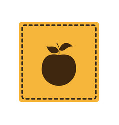 yellow emblem apple fruit icon vector image