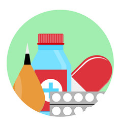 Drugs and medications icon vector