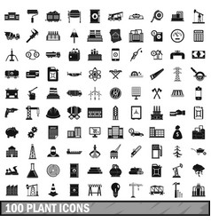 100 plant icons set simple style vector image