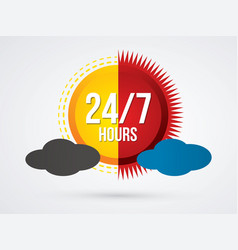 day and night 24 hours service icon graphic vector image