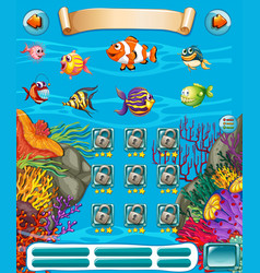 Game template with underwater scene vector