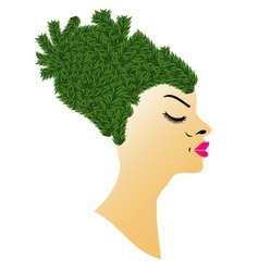 Hairstyle with grass vector