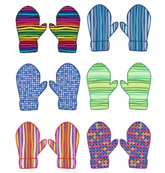 Mittens with geometrical patterns vector