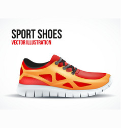 Running red shoes bright sport sneakers symbol vector