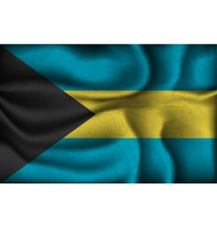 Crumpled flag of bahamas on a light background vector