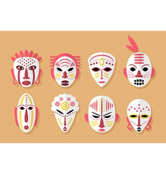 African mask icons vector