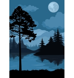 Landscape trees moon and mountains vector