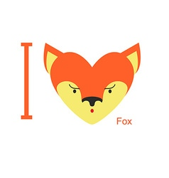 I love fox cute head foxes in shape of a heart vector