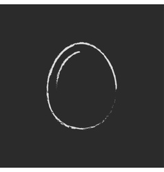 Egg icon drawn in chalk vector