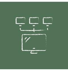 Group of monitors icon drawn in chalk vector