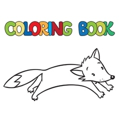 Coloring book of little funny jumping fox vector