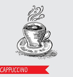 Hand drawn cappuccino cup vector