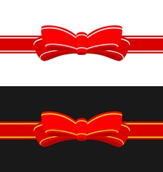 Gift ribbon with red bow horizontal ribbon vector