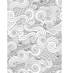 Abstract hand drawn outline wave curl seamless vector image vector image