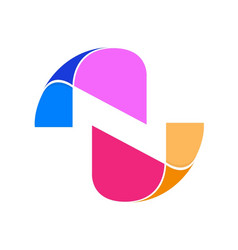 abstract initial letter n logo design template vector image vector image