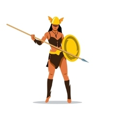 Amazon girl with a spear Cartoon vector image
